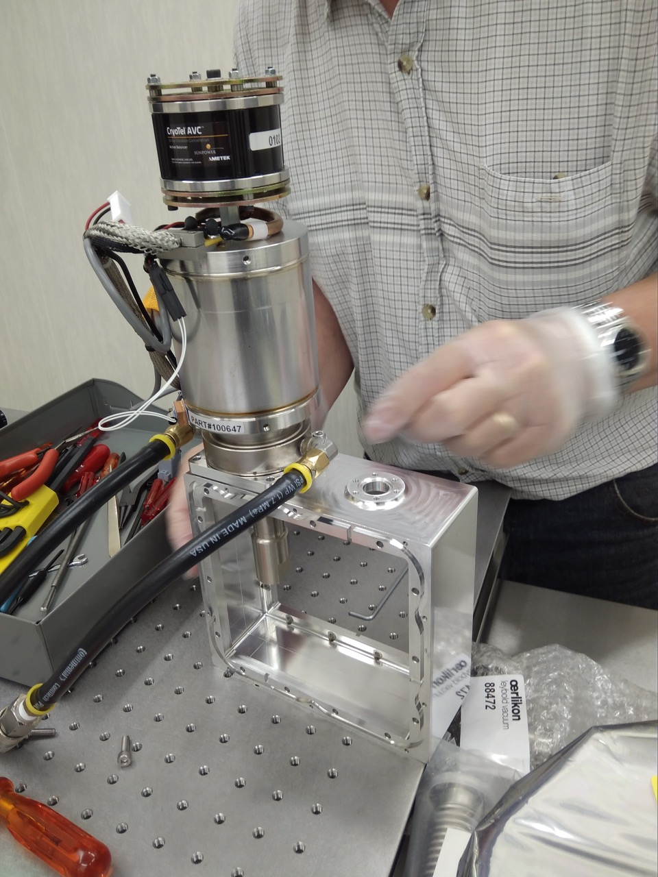 Fig. 4. Test mounting of the CryoTel cooler, which will be used to reduce the temperature of the CCD to approximately 170K.