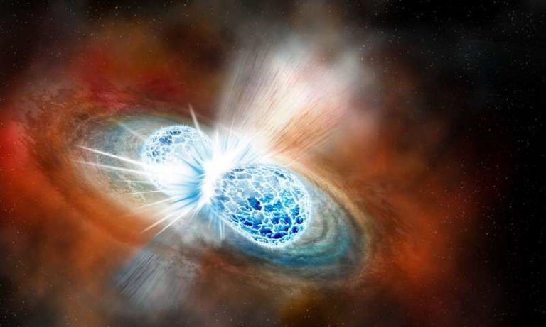 An artist's impression of a kilonova, the result of two colliding and merging neutron stars, which was the source of the first gravitational wave event (GW170817) for which an electromagmetic counterpart was detected at different wavelengths (picture credit: Robin Dienel; Carnegie Institution for Science).